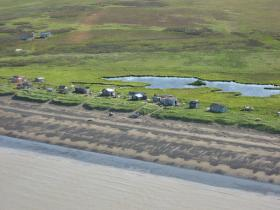 Setnet cabins on Igushik Beach.
