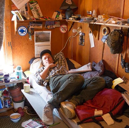 """This is Sam, a fisherman from Port Townsend, WA at the Red Salmon bunkhouse. photo: Corey Arnold @arni_coraldo #bristolbay #fisherman #commercialfishing"""