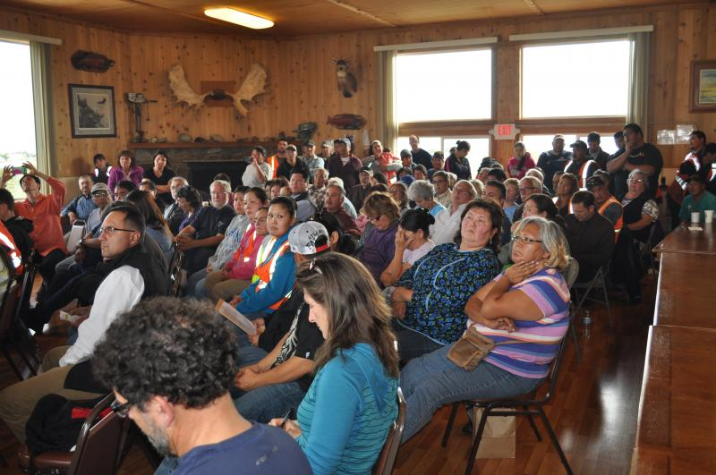 The crowd gathered Tuesday in Iliamna for the visit by EPA Administrator Gina McCarthy.