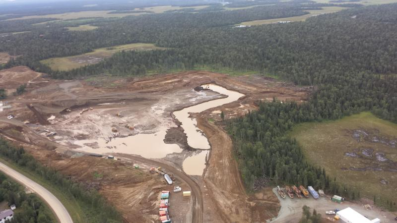 Standing water in the Knik Gravel Pit in Dillingham leading to concerns that the water table has been breached.