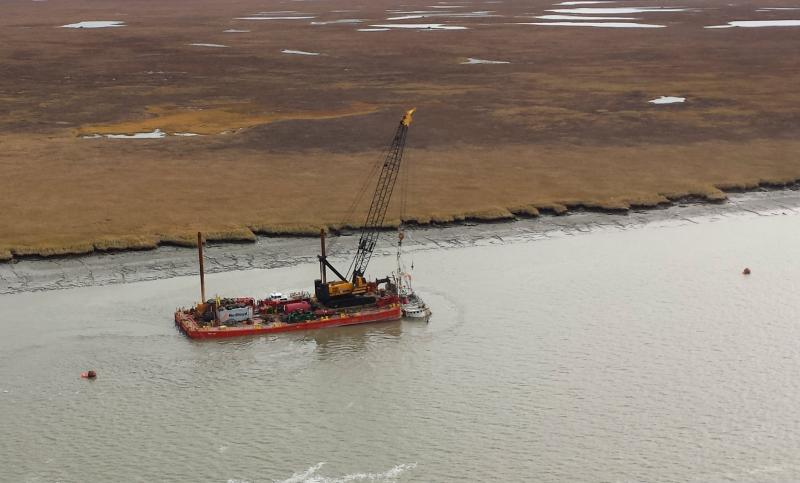 The Lone Star being hoisted out of the Igushik River