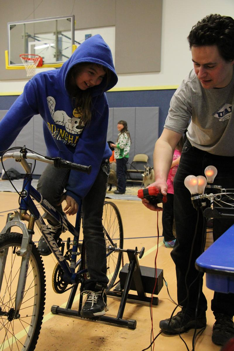 The bicycle generator was presented by Tom Marsik of the Bristol Bay Campus