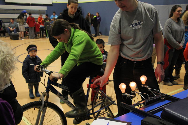 Kids pedaled to see who could generate the most electricity.