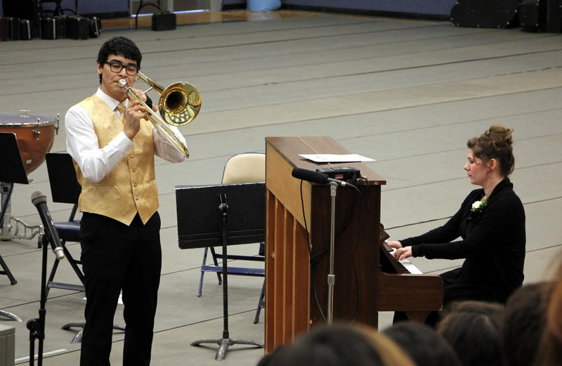 Sikuluq Johnson of Unalakleet was selected to perform his trombone solo in the grand finale concert Saturday.