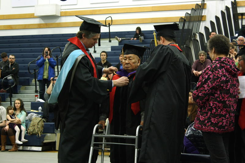 Yup'ik elder Gust Bartman received an honorary Doctor of Laws degree.