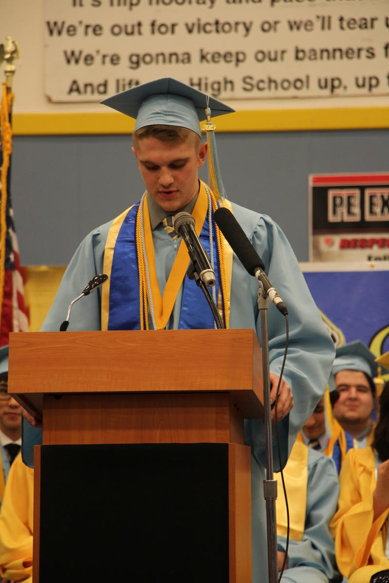 Valedictorian Cole Schlagel addressed his fellow graduates and crowd.