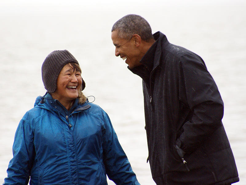 What do you do if you just handed the President a salmon that 'spawned' on his shoe? Laugh, of course. Mr. Obama took the unexpected natural encounter in stride at Dillingham's Kanakanak Beach in stride. (with Mae Olson)