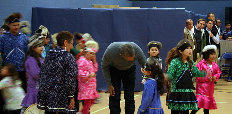 Barack Obama mingled with the young dancers, and even joined in for an encore performance.