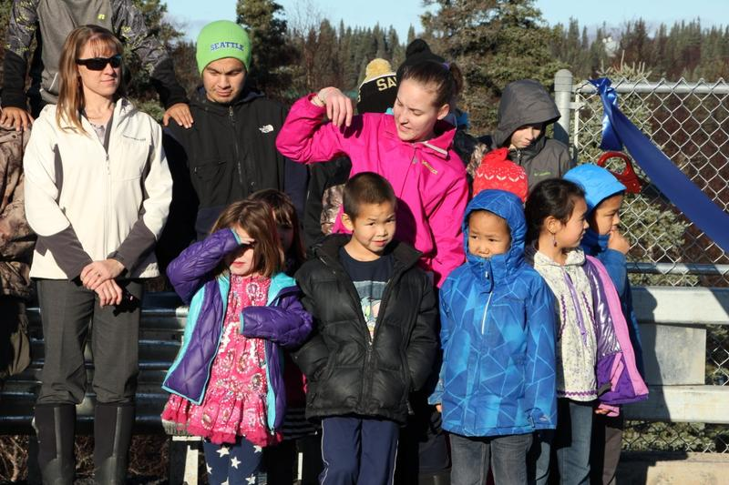 Students from the Aleknagik School walked over for the ceremony Tuesday.