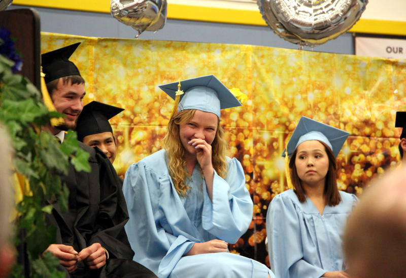 An emotional moment at the Dillingham High School commencement ceremony, May 20, 2016.