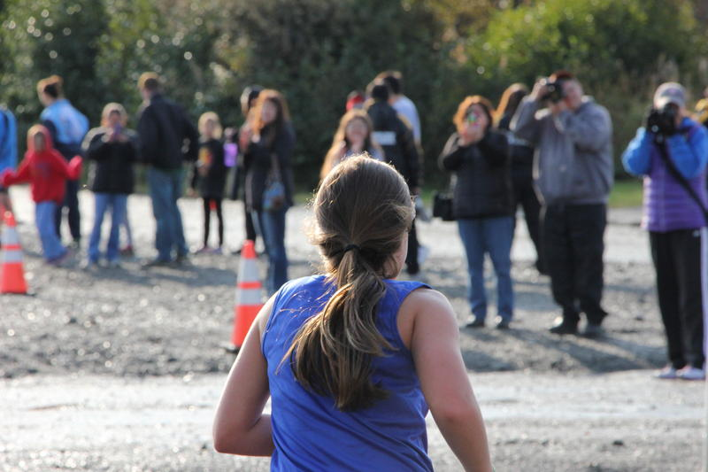 Kiley Clouse in the middle school cross country race in Dillingham, September 2016.