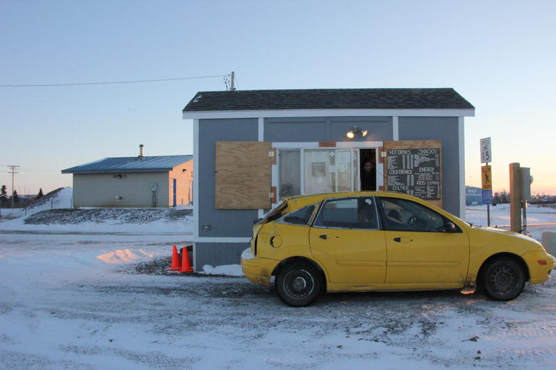 Tide Table Coffee in Dillingham serving a customer on a December day.