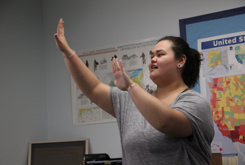 Analouise Hoseth dances at the end of a Yup'ik language class at Dillingham High School.