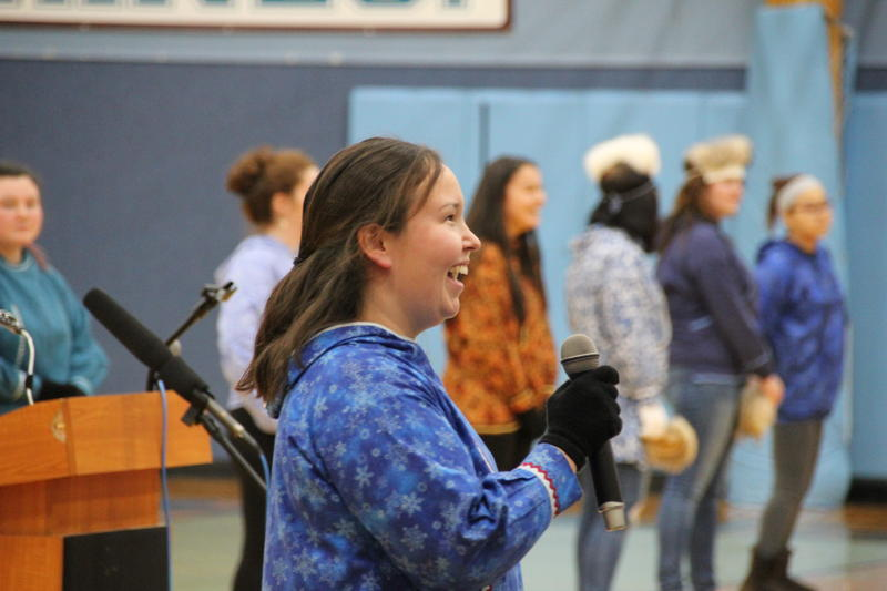 Michelle Snyder led the Dillingham Wolverine Dancers at Monday's Indigenous Peoples Celebration at DCSD.