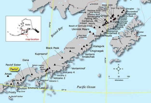 Alaska Map Volcano.Mt Pavlof Spews Ash After Sunday Eruption Kdlg