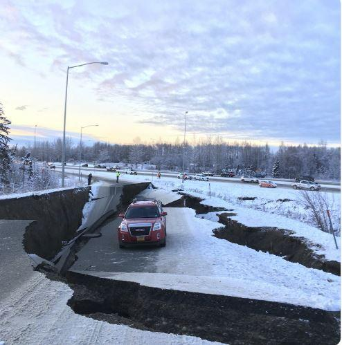 Dramatic pictures show earthquake's path of destruction in Alaska