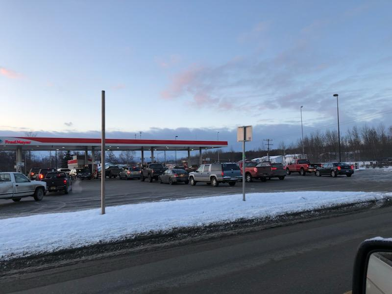 Lines were long at the Palmer gas stations this morning