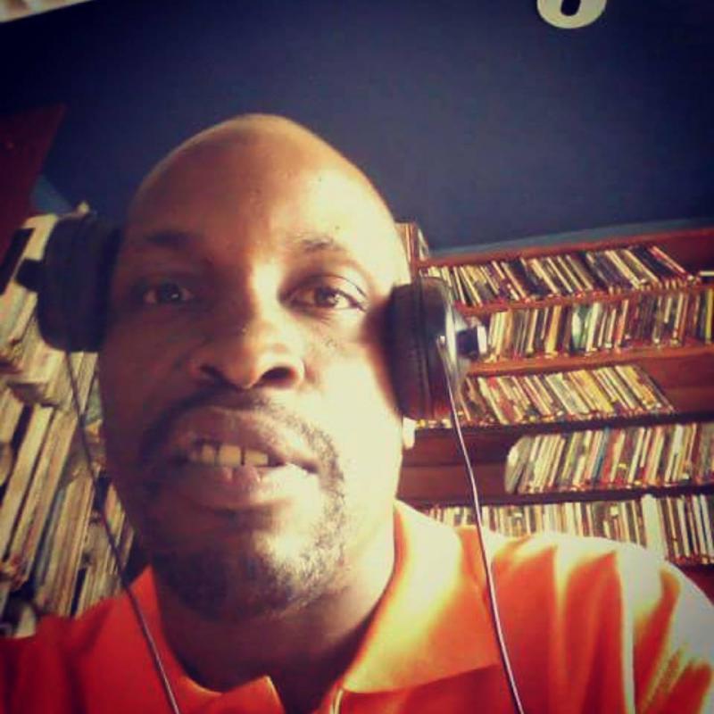 DJ Phathead self-portrait on air at KDNK