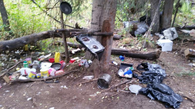 Trash found at illegal marijuana grow site on WRNF south of Carbondale