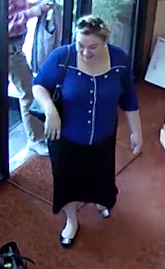 Suspect 3 - heavyset woman with a reddish brown hair in a top bun, wore a royal blue long-sleeved sweater with rhinestone buttons and a dark, ankle-length skirt