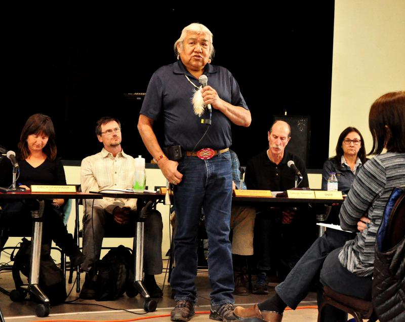 Kenny Frost, Southern Ute elder, opens the Crystal Valley Trail forum on October 17, 2017.