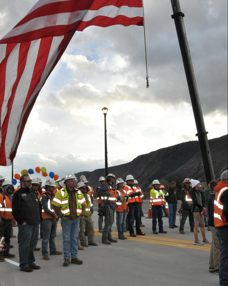 Grand Avenue Bridge workers were honored at Monday's ceremony.