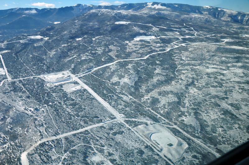 North flank of Battlement Mesa (foreground), North Mamm Peak/ Mamm Peak Roadless Area/Houston Mountain (background), January 2018 Ecoflight