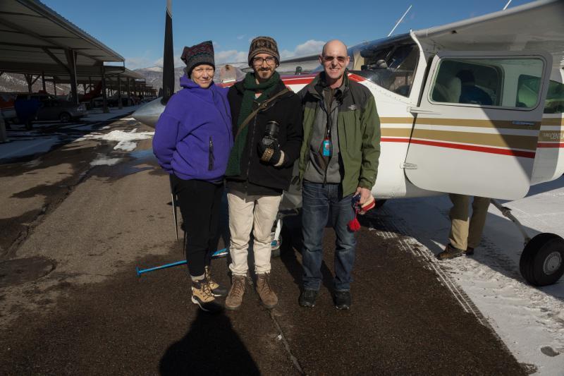 KDNK reporter Amy Hadden Marsh (l), News Director Raleigh Burleigh (c), Gary Kraft, Ecoflight pilot (r), January 2018 in Aspen
