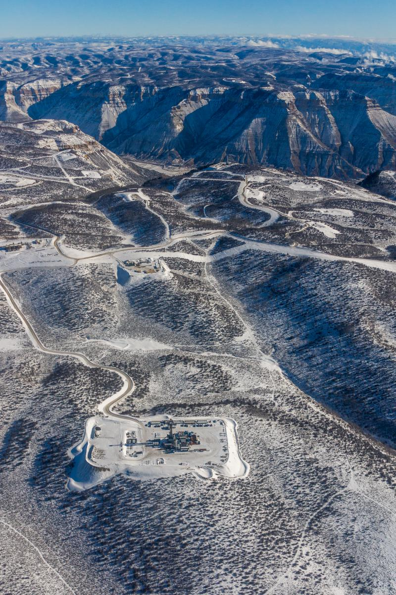 Natural gas rig, top of Roan Plateau, January 2018 Ecoflight