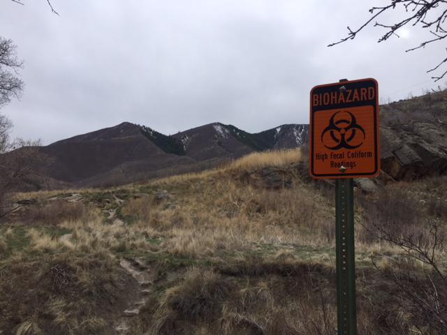 Biohazard Warning at South Canyon Hot Springs.