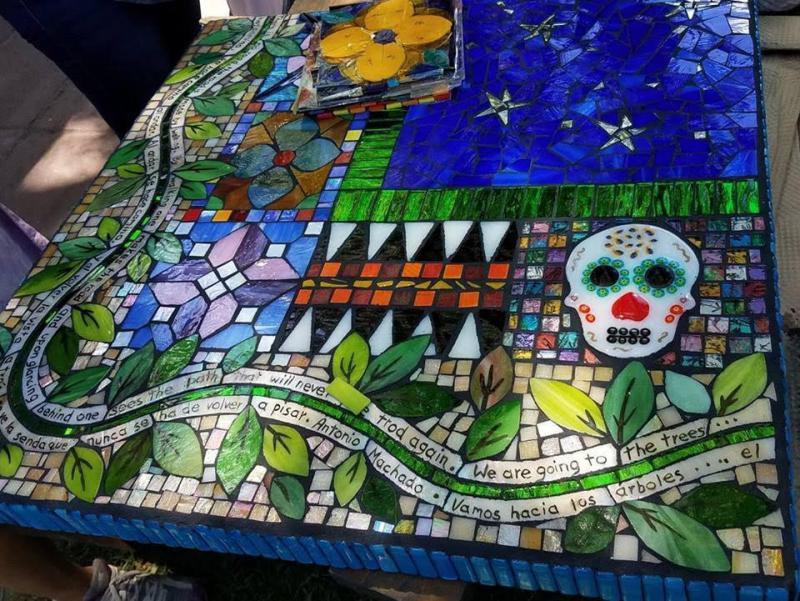 Mosaic table.