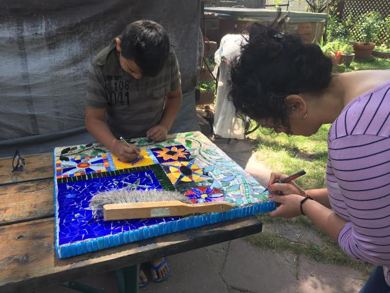 Work on mosaic table with Paradise Art Glass.