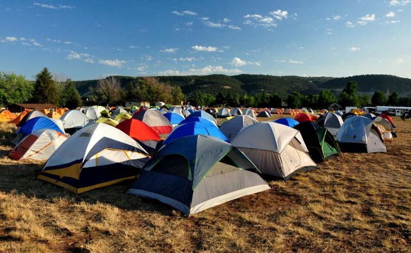 Over 400 firefighters are camped at Crown Mountain Park near El Jebel, CO as part of the Type 2 Incident Management Team assigned to the Lake Christine Fire.
