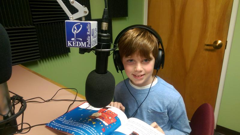 "Brunson reading on KEDM for the ""Give the Joy of Learning"" fundraising campaign."