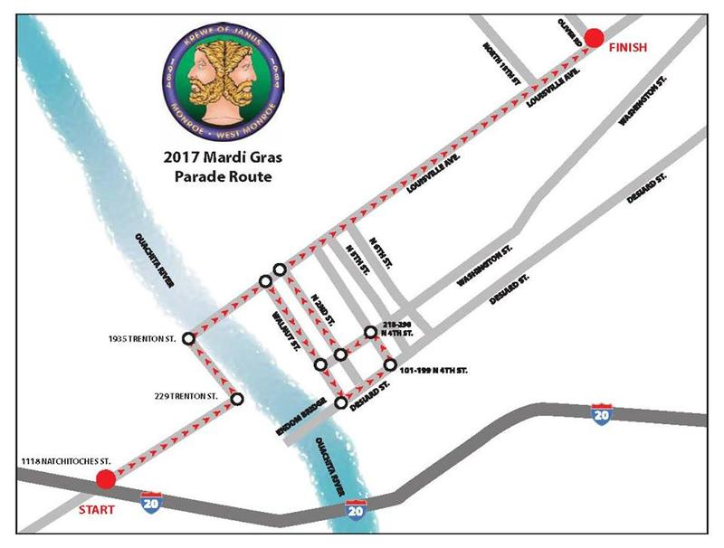 2017 Krewe of Janus Parade Map
