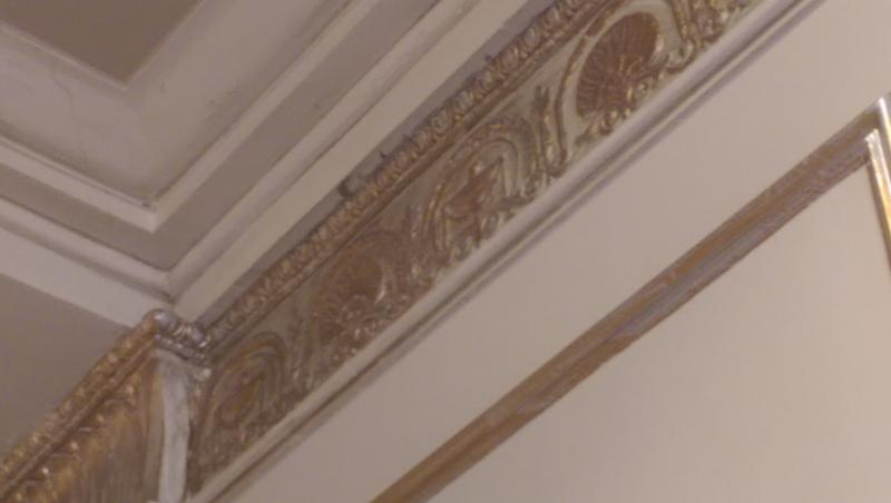 Plaster featuring restored hand-painted details