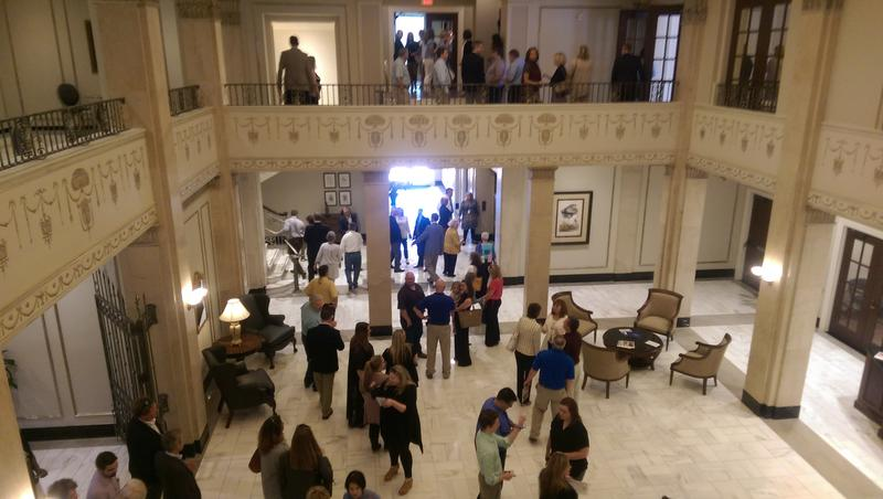 View of the lobby from the mezzanine level.