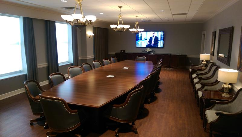 The Board Room now occupies one of two former dining rooms of the old hotel
