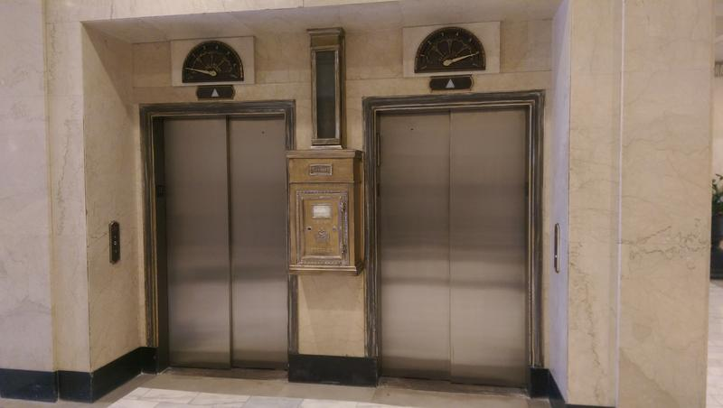 Architects were able to save the original mail box and mail slot that runs from the 5th floor, as well as floor indicators on elevators.