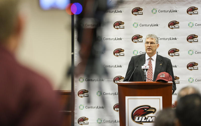 The new University of Louisiana Monroe Athletic Director Nick Floyd speaks at a press conference Thursday.