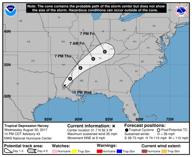 The forecasted path of Tropical Depression Harvey.
