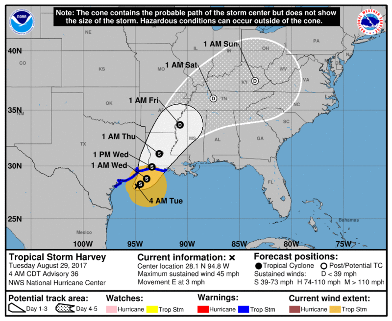 Harvey's center will reach north Louisiana on Thursday.