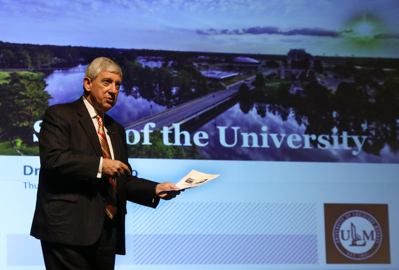 """University of Louisiana Monroe President Dr. Nick Bruno presents the annual State of the University Address Thursday at Brown Auditorium. """"This is my sixth State of the University address, and it's the most optimistic of all,"""" Bruno said."""