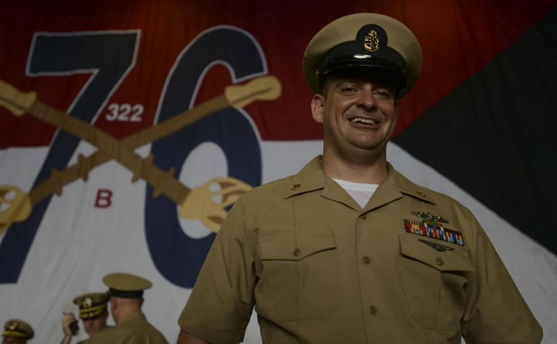PHILIPPINE SEA (Sept. 15, 2017) Chief Machinist's Mate (Nuclear) Barry Farnell, from Rayville, Louisiana, poses after the chief petty officer pinning ceremony in the hangar bay of the Navy's forward-deployed aircraft carrier, USS Ronald Reagan (CVN 76).