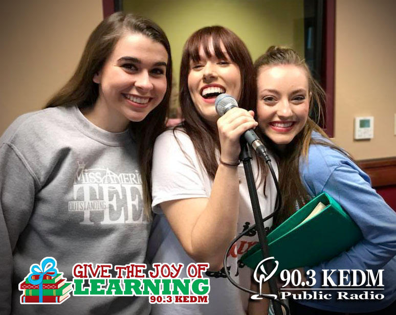 Sarah Katherine McCallum, Michaela Jolly, and Chanley Patterson performed in the KEDM studios promoting the Strauss Youth Academy for the Arts production of Home for the Holidays