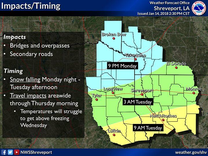 Winter Weather will move into the area Monday evening and we could see more later in the week.