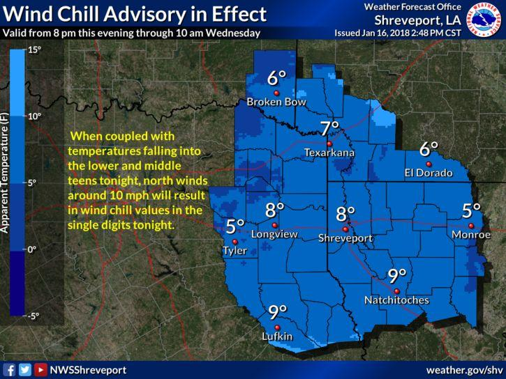 Wind Chill Advisory in effect for northeast Louisiana Tuesday night.