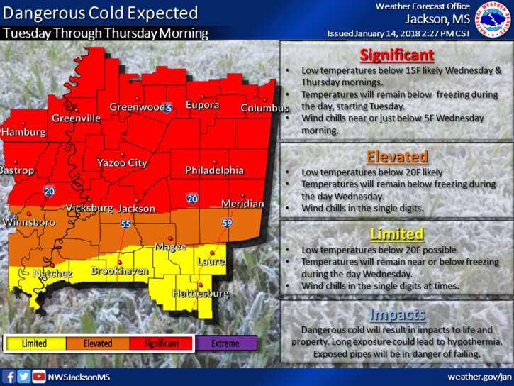 Extreme cold will continue until Wednesday afternoon.