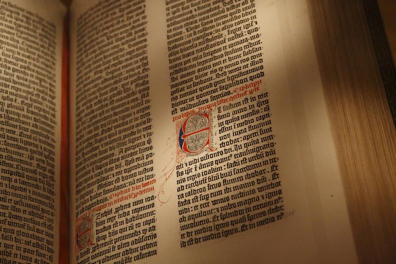 """Treasures of the Biedenharn Bible Collection"" spotlights a Gutenberg Bible leaf."