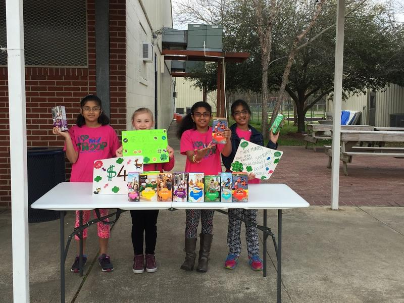Mahati Sreedhara and Troop #83 are selling their cookies at River Oaks ball games.